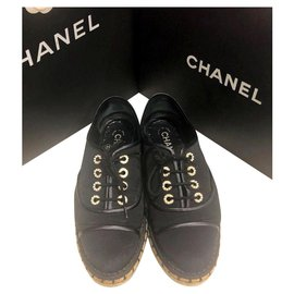Chanel-Chanel black lace up espadrilles EU37-Black