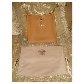 Hermès-HERMES VESPA PM LightBrown Shoulder Bag  Epson Leather + dustbag-Cognac