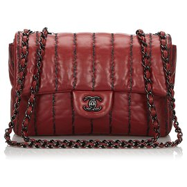 Chanel-Chanel Red Quilted Medium Single Flap Bag-Red