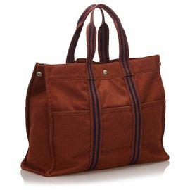 Hermès-Hermes Brown cabas GM-Marron,Bleu,Bleu foncé