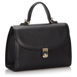 Burberry-Burberry Black Leather Satchel-Black