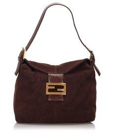 Fendi-Fendi Brown Suede Shoulder Bag-Brown,Dark brown