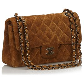 Chanel-Chanel Brown Classic Small Suede lined Flap Bag-Brown,Dark brown