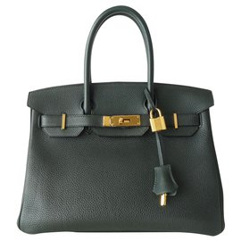 Hermès-HERMES BIRKIN BAG 30 ENGLISH GREEN-Dark green