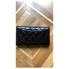 Chanel-Large long flap wallet-Black