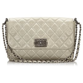 Chanel-Chanel Gray Matelasse Boy Flap Bag-Grey