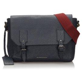 Burberry-Burberry Blue Embossed Leather Crossbody Bag-Red,Blue,Dark blue
