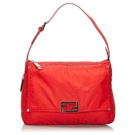 Fendi-Fendi Red Micro Zucchino Nylon Shoulder Bag-Red