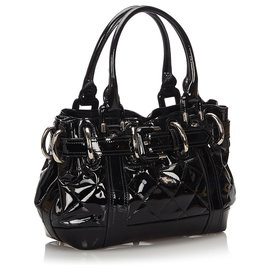 Burberry-Burberry Black Quilted Patent Leather Handbag-Black