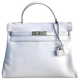 Hermès-hermes kelly 32 White leather-White
