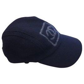 Chanel-Chanel wool unisex cap-Black,Grey
