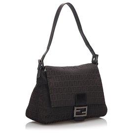Fendi-Fendi Black Zucchino Canvas Mamma Forever Shoulder Bag-Black