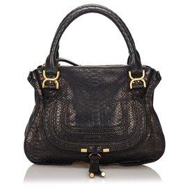 Chloé-Chloe Black Python Marcie Handbag-Black