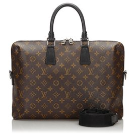Louis Vuitton-Louis Vuitton Brown Monogram Macassar Porte-Documents Jour-Brown,Black