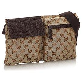 Gucci-Gucci Brown GG Sac de ceinture en toile-Marron,Beige,Marron foncé