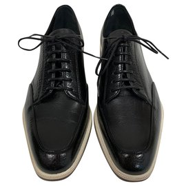 Lanvin-Derbies en cuir noir-Noir