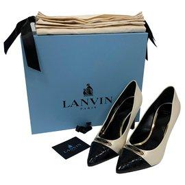 Lanvin-Pompes à cuir-Écru