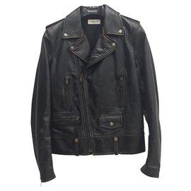 Saint Laurent-Leather biker jacket-Black