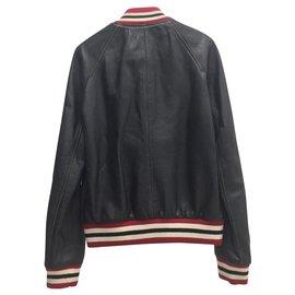 Saint Laurent-Rock leather bomber jacket-Black