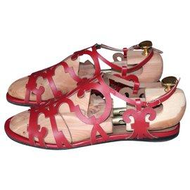 Hermès-openwork red sandals-Red