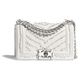 Chanel-Petit sac BOY CHANEL blanc prle-Blanc