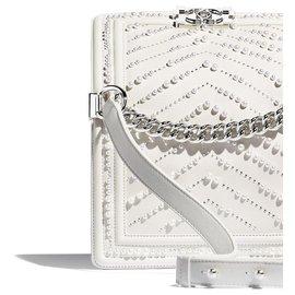Chanel-BOY CHANEL pequena bolsa prle branco-Branco