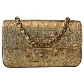 Chanel-Chanel Gold Metallic Crocodile Embossed calf leather Mini Flap-Golden