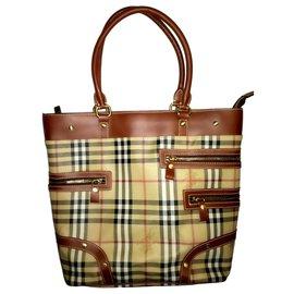 Burberry-BURBERRY London Haymarket TOTE Nova Check Vintage Hand Bag O2-BO-1005-Beige
