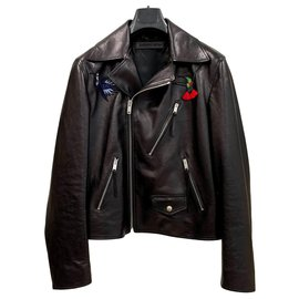 Alexander Mcqueen-Leather biker jacket with patches-Black
