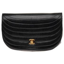 Chanel-Chanel classique vintage en cuir d'agneau matelassé ondulé noir-Noir