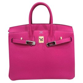 Hermès-HERMES BIRKIN 25 Rose Pourpre PHW-Rose