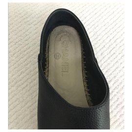 Chanel-Chanel navy blue and black leather espadrilles EU37-Black