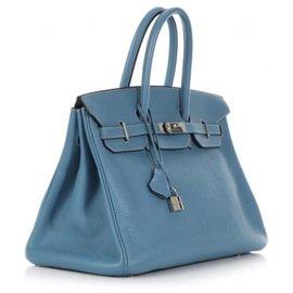 Hermès-Birkin 35 blu jeans-Bleu