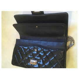 Chanel-jumbo: 32x21x8cm-Navy blue