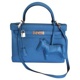 Hermès-Kelly 32 blue zanzibar-Blue