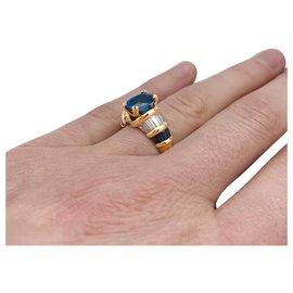 Boucheron-Yellow gold Boucheron ring, sapphires and diamonds.-Other
