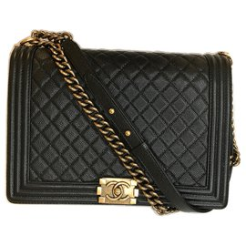 Chanel-Large Boy Caviar Bag 14b-Black