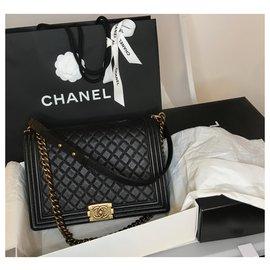 Chanel-Grand sac de caviar de garçon 14b-Noir