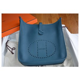 Hermès-Hermès bag Evelyne III 33 Mallard / Lime-Silvery,Navy blue,Dark green