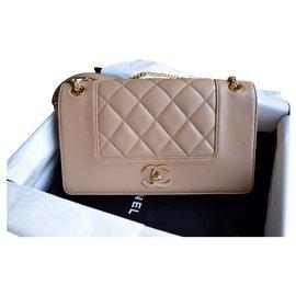 Chanel-Chanel Mademoiselle Vintage Medium Flap Bag-Beige,Golden