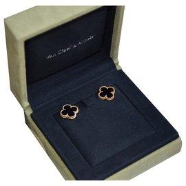 Van Cleef & Arpels-Van Cleef and Arpels Vintage Alhambra Earrings in Yellow Gold and Onyx-Black,Golden