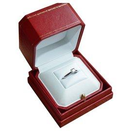 Cartier-Bague Cartier Solitaire 1895 en platine 950 et diamant 0.70 ct-Argenté,Blanc,Gris