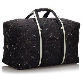 Chanel-Chanel Black Old Travel Line Duffle Bag-Black,White