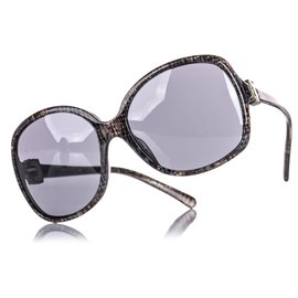 Chanel-Chanel Gray Tweed-Effect Oversized Sunglasses-Grey