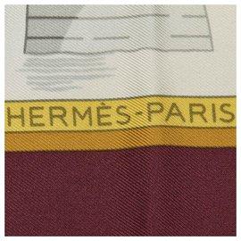 Hermès-Hermes White Les Ponts de Paris Scarf-White,Multiple colors,Cream