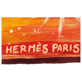 Hermès-Hermes Orange Feux du Ciel Silk Scarf-Multiple colors,Orange