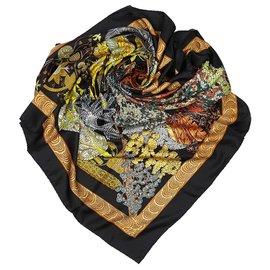Hermès-Hermes Black Les Legendes de LArbre Silk Scarf-Black,Multiple colors