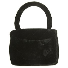 Chanel-Vintage CHANEL Velvet Micro Mini Kelly Flap Bag Black Evening handbag twist lock-Black