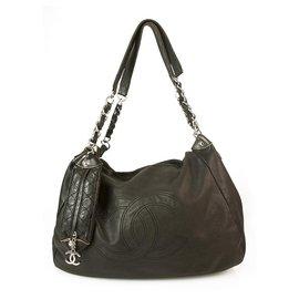 Chanel-CHANEL Boho style Black Leather Large Shoulder bag, CC stiched logo & mini pouch-Black