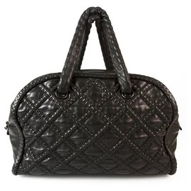 Chanel-CHANEL Boho style Black Leather Large Bowling bag, chain inside leather handles-Black